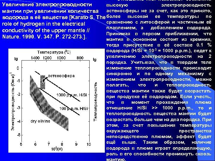 Отношение H/Si позволяет объяснить Увеличение электропроводности высокую электропроводность мантии при увеличении количества астеносферы не