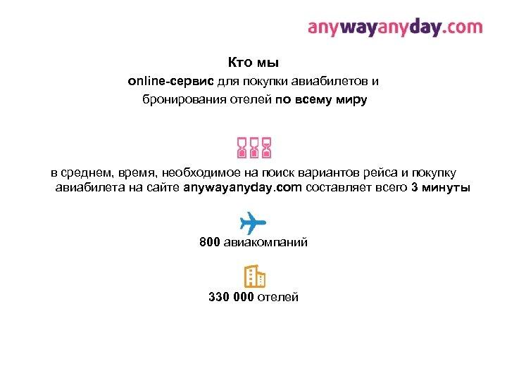 Кто мы online-сервис для покупки авиабилетов и бронирования отелей по всему миру в среднем,