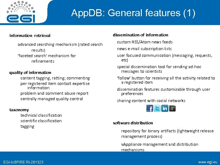 App. DB: General features (1) information retrieval advanced searching mechanism (rated search results) 'faceted