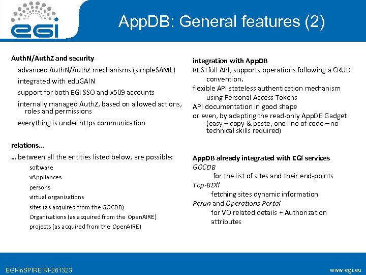 App. DB: General features (2) Auth. N/Auth. Z and security advanced Auth. N/Auth. Z