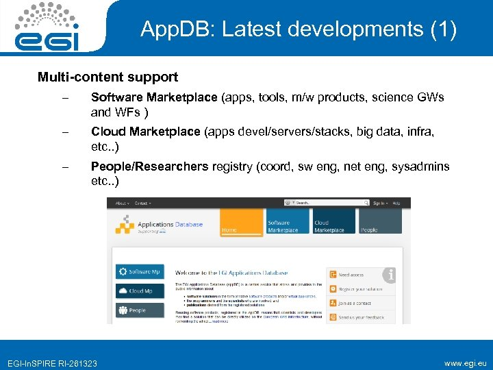 App. DB: Latest developments (1) Multi-content support – Software Marketplace (apps, tools, m/w products,