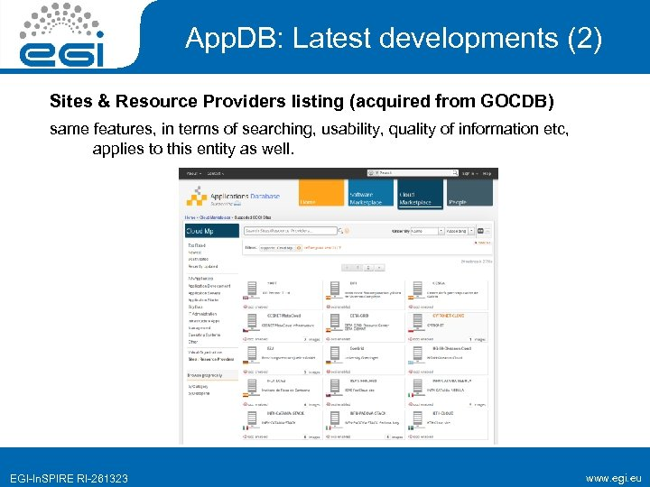 App. DB: Latest developments (2) Sites & Resource Providers listing (acquired from GOCDB) same