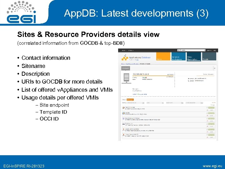 App. DB: Latest developments (3) Sites & Resource Providers details view (correlated information from