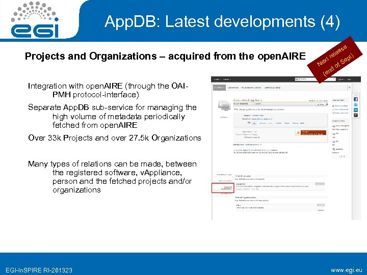 App. DB: Latest developments (4) Projects and Organizations – acquired from the open. AIRE