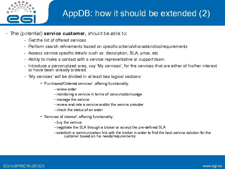 App. DB: how it should be extended (2) - The (potential) service customer, should