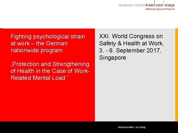 "Fighting psychological strain at work – the German nationwide program ""Protection and Strengthening of"