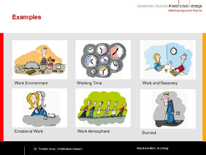 Examples Work Environment Working Time Work and Recovery Emotional Work Atmosphere Burnout 12 Dr.