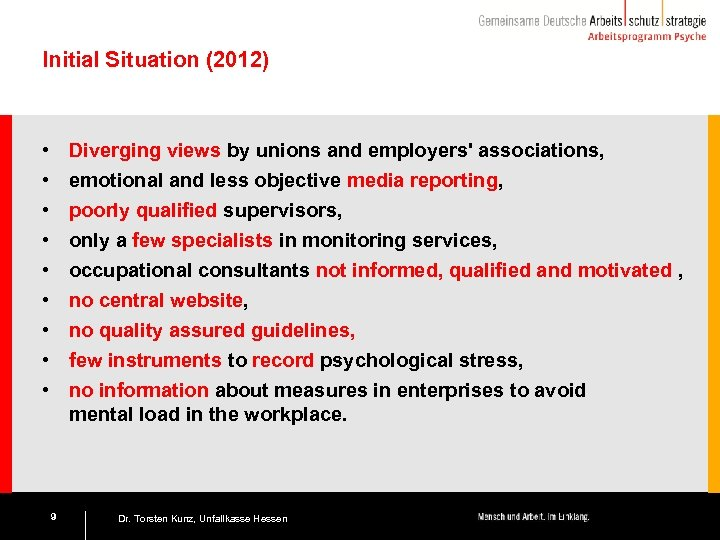 Initial Situation (2012) • • • Diverging views by unions and employers' associations, emotional