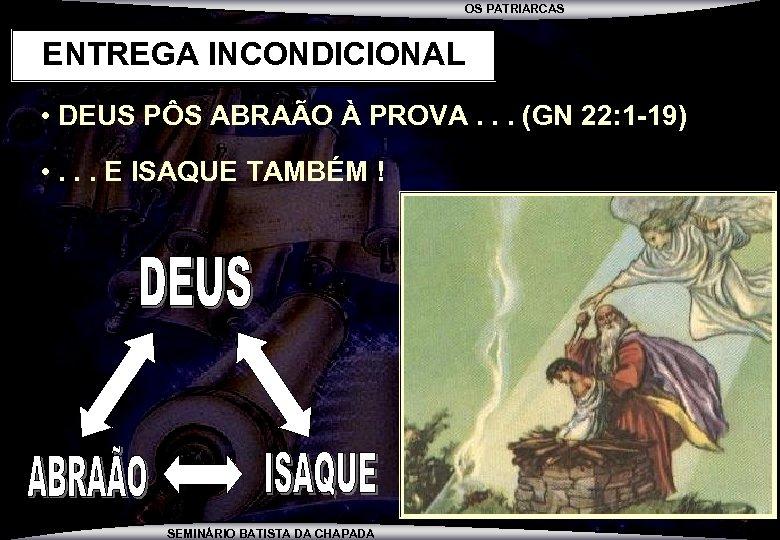 OS PATRIARCAS ENTREGA INCONDICIONAL • DEUS PÔS ABRAÃO À PROVA. . . (GN 22: