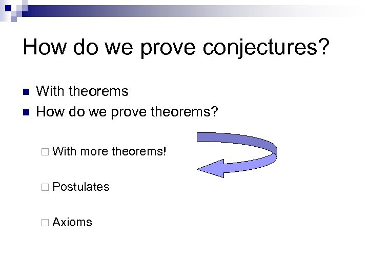 How do we prove conjectures? n n With theorems How do we prove theorems?