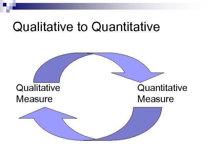 Qualitative to Quantitative Qualitative Measure Quantitative Measure