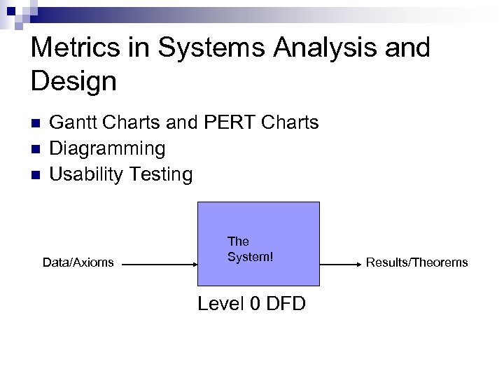 Metrics in Systems Analysis and Design n Gantt Charts and PERT Charts Diagramming Usability