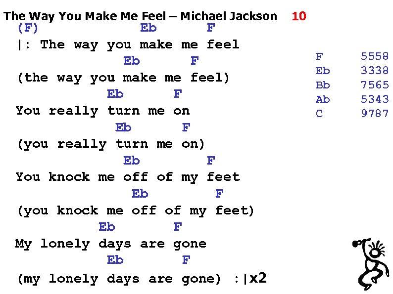 The Way You Make Me Feel – Michael Jackson (F) Eb F  : The