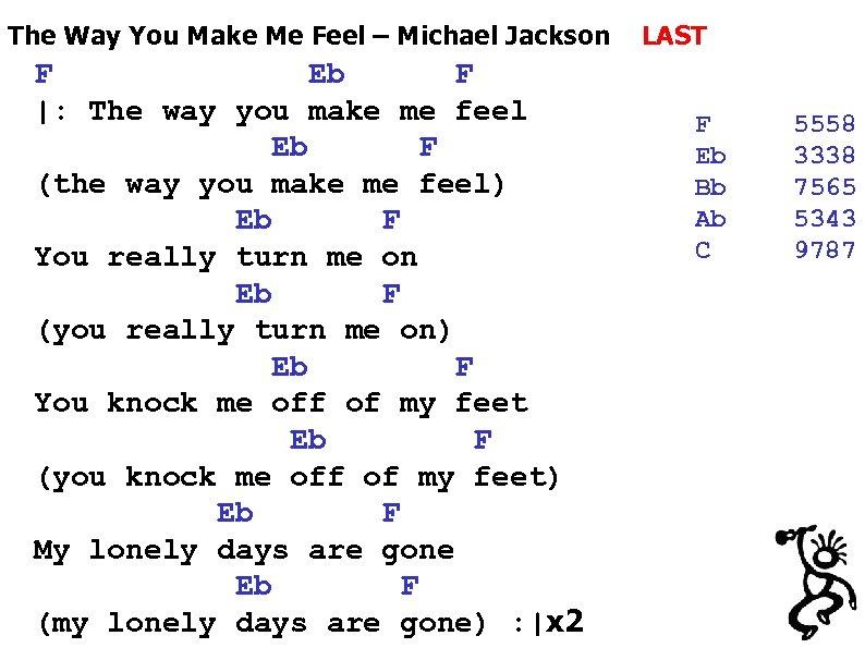 The Way You Make Me Feel – Michael Jackson F Eb F  : The