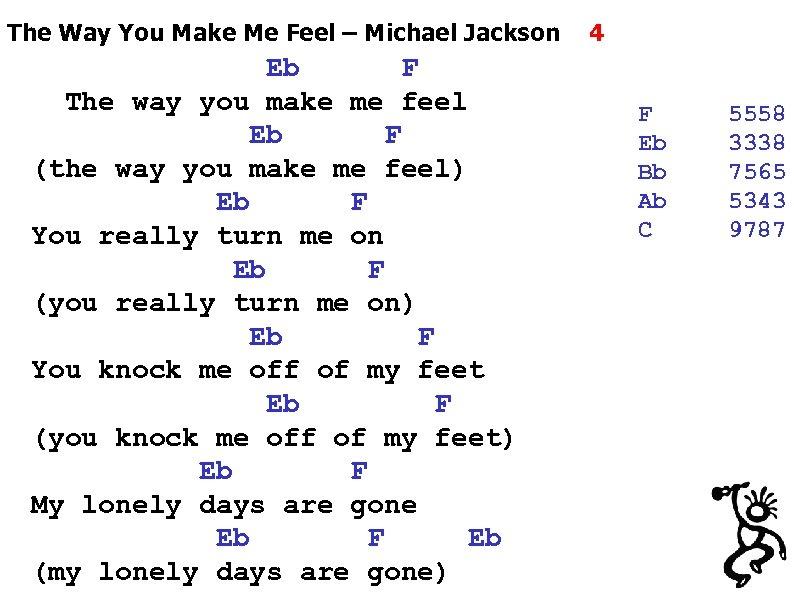 The Way You Make Me Feel – Michael Jackson Eb F The way you