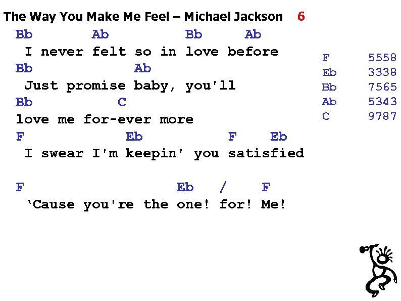 The Way You Make Me Feel – Michael Jackson 6 Bb Ab I never