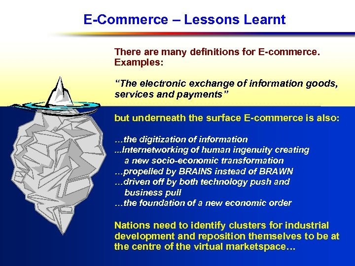 "E-Commerce – Lessons Learnt There are many definitions for E-commerce. Examples: ""The electronic exchange"