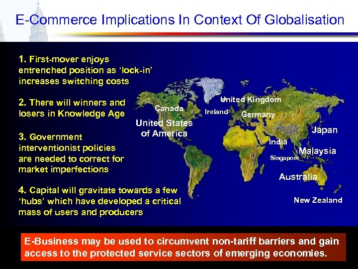 E-Commerce Implications In Context Of Globalisation 1. First-mover enjoys entrenched position as 'lock-in' increases