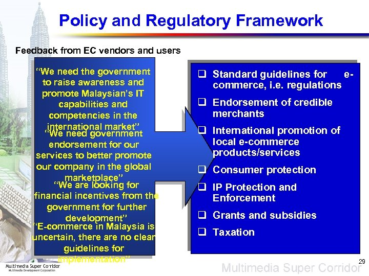 "Policy and Regulatory Framework Feedback from EC vendors and users ""We need the government"