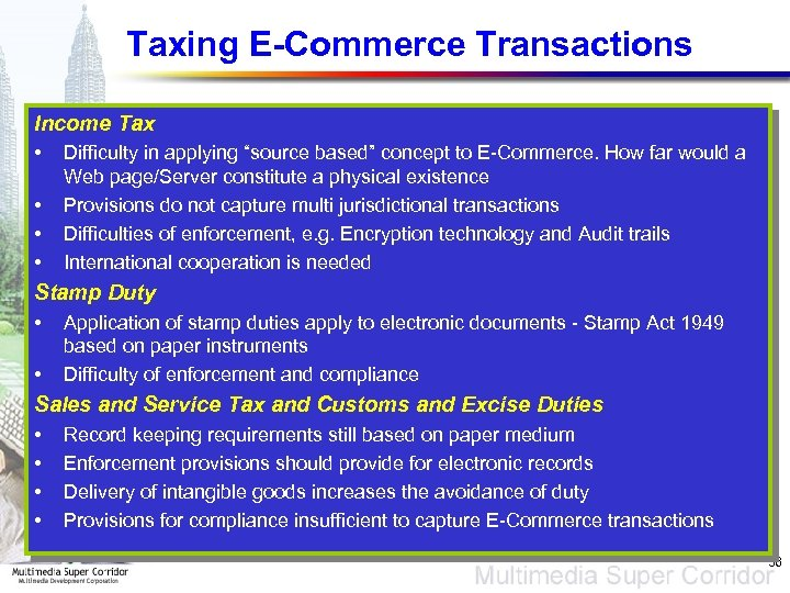 "Taxing E-Commerce Transactions Income Tax • • Difficulty in applying ""source based"" concept to"