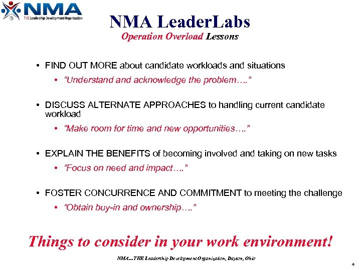 NMA Leader. Labs Operation Overload Lessons • FIND OUT MORE about candidate workloads and