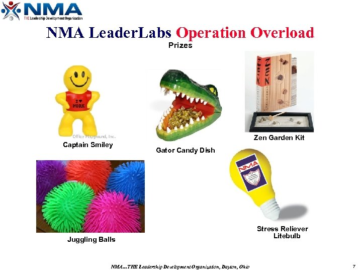 NMA Leader. Labs Operation Overload Prizes Captain Smiley Zen Garden Kit Gator Candy Dish