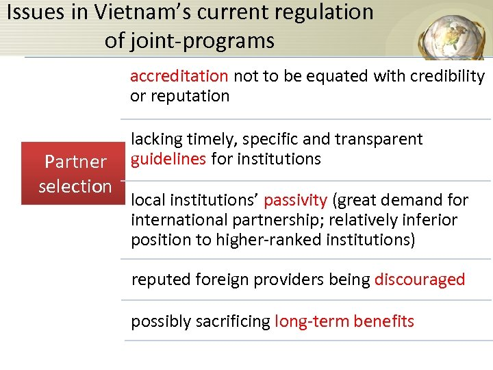 Issues in Vietnam's current regulation of joint-programs accreditation not to be equated with credibility
