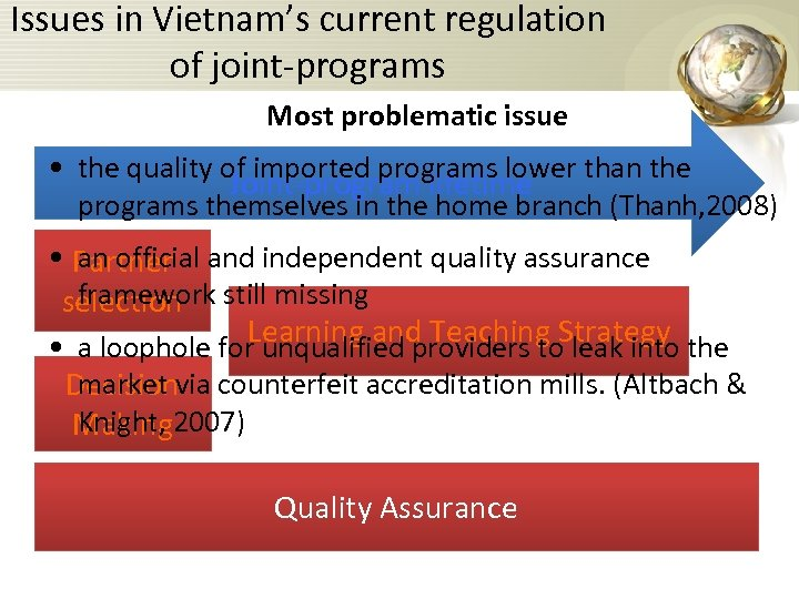 Issues in Vietnam's current regulation of joint-programs Most problematic issue • the quality of