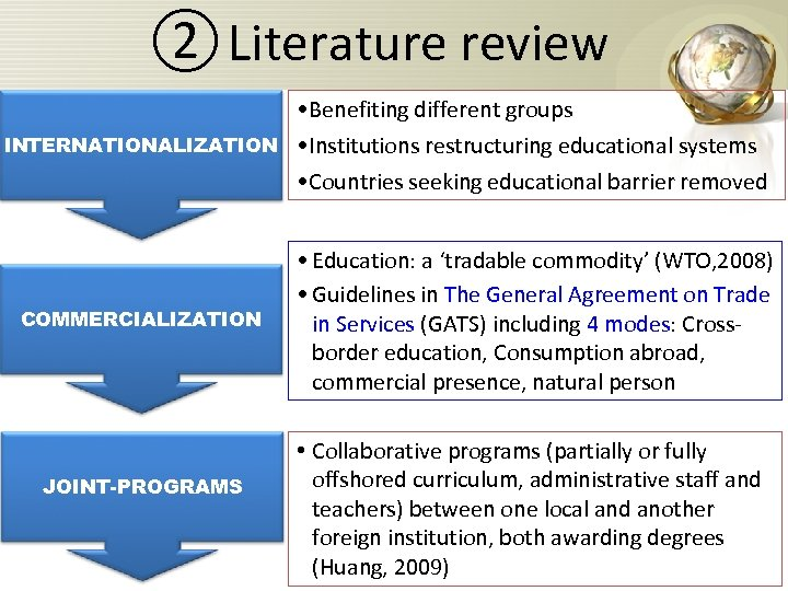 ② Literature review INTERNATIONALIZATION • Benefiting different groups • Institutions restructuring educational systems •