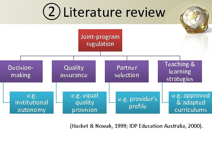 ② Literature review Joint-program regulation Decisionmaking e. g. institutional autonomy Quality assurance e. g.