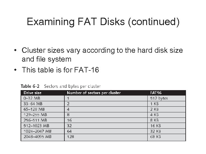 Examining FAT Disks (continued) • Cluster sizes vary according to the hard disk size