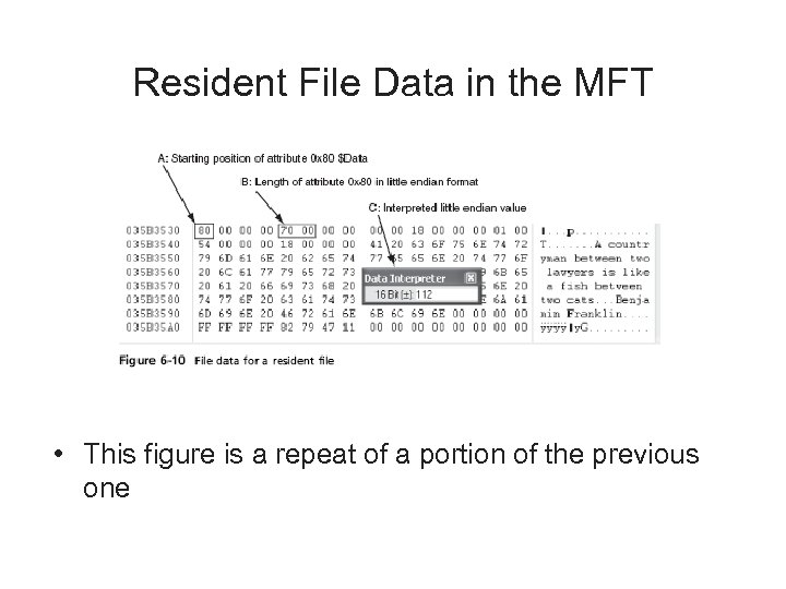 Resident File Data in the MFT • This figure is a repeat of a