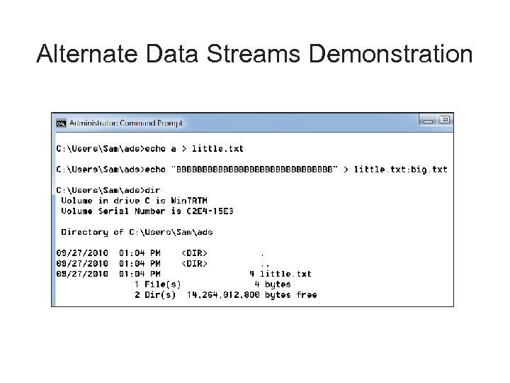 Alternate Data Streams Demonstration