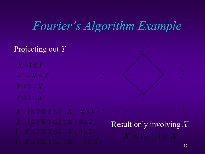 Fourier's Algorithm Example Projecting out Y Result only involving X 10