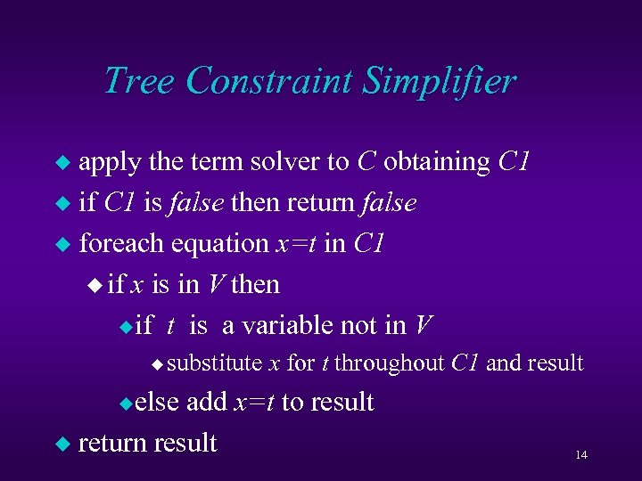 Tree Constraint Simplifier apply the term solver to C obtaining C 1 u if