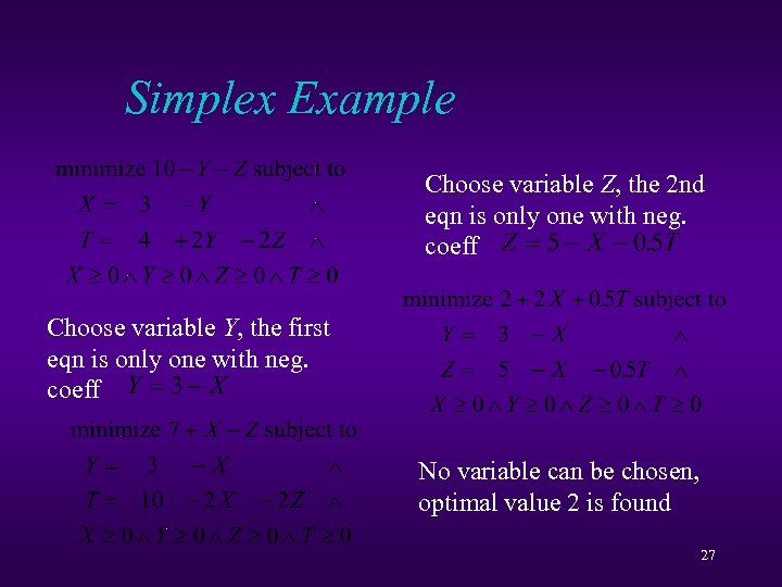 Simplex Example Choose variable Z, the 2 nd eqn is only one with neg.