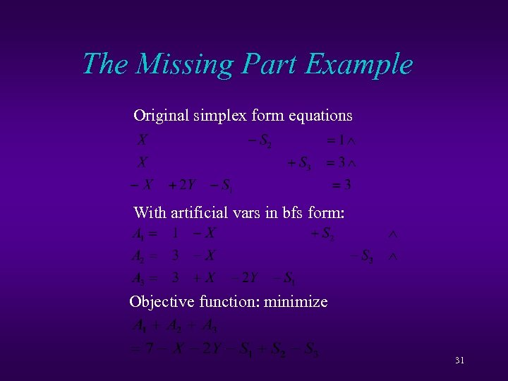 The Missing Part Example Original simplex form equations With artificial vars in bfs form: