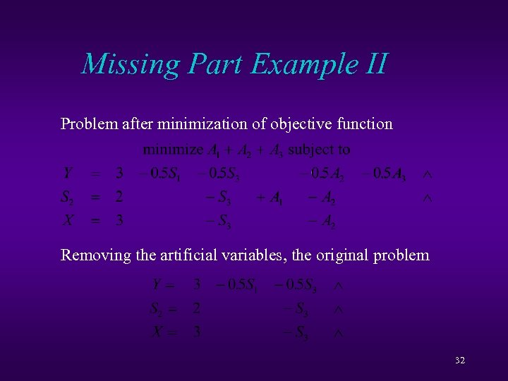 Missing Part Example II Problem after minimization of objective function Removing the artificial variables,