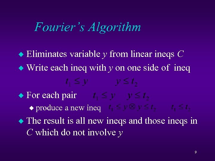 Fourier's Algorithm Eliminates variable y from linear ineqs C u Write each ineq with