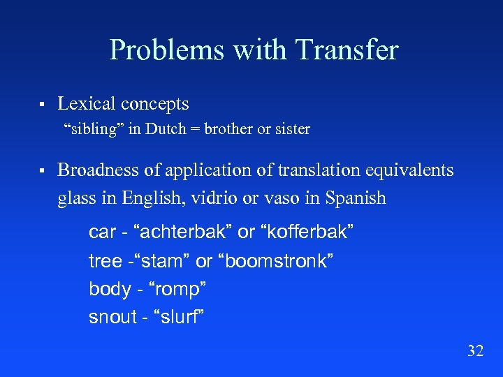 """Problems with Transfer § Lexical concepts """"sibling"""" in Dutch = brother or sister §"""