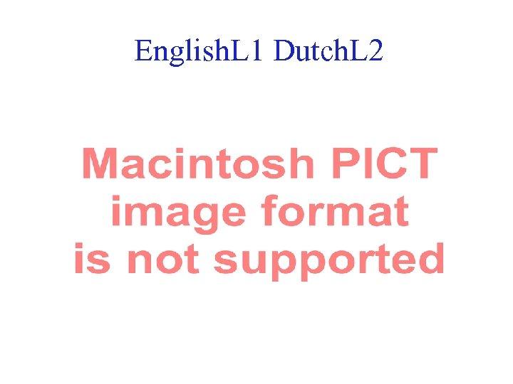 English. L 1 Dutch. L 2 38