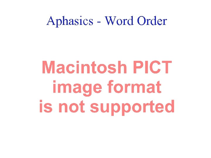 Aphasics - Word Order 40