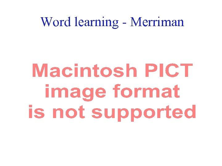 Word learning - Merriman 47