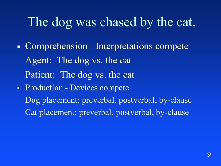 The dog was chased by the cat. § Comprehension - Interpretations compete Agent: The