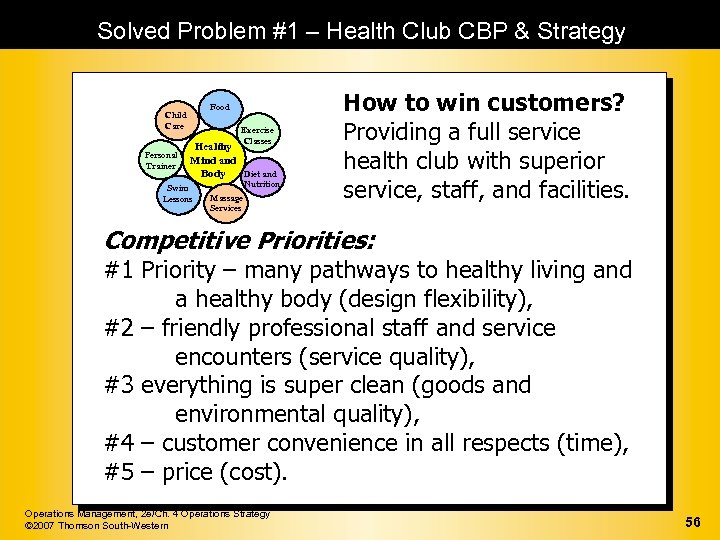 Solved Problem #1 – Health Club CBP & Strategy Food Child Care Personal Trainer