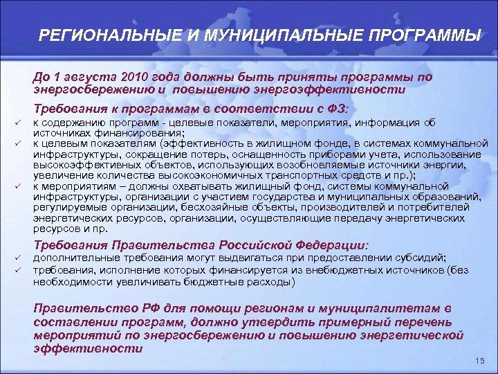 РЕГИОНАЛЬНЫЕ И МУНИЦИПАЛЬНЫЕ ПРОГРАММЫ До 1 августа 2010 года должны быть приняты программы по