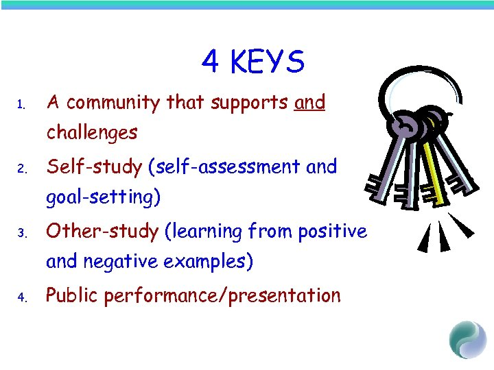 4 KEYS 1. A community that supports and challenges 2. Self-study (self-assessment and goal-setting)