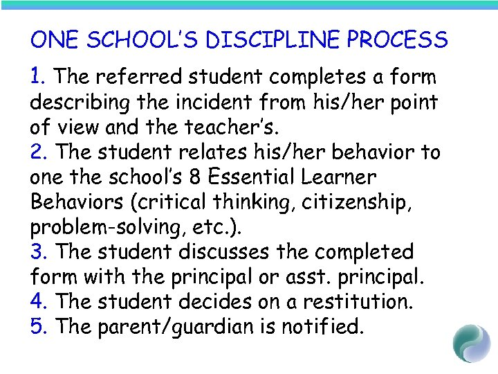 ONE SCHOOL'S DISCIPLINE PROCESS 1. The referred student completes a form describing the incident