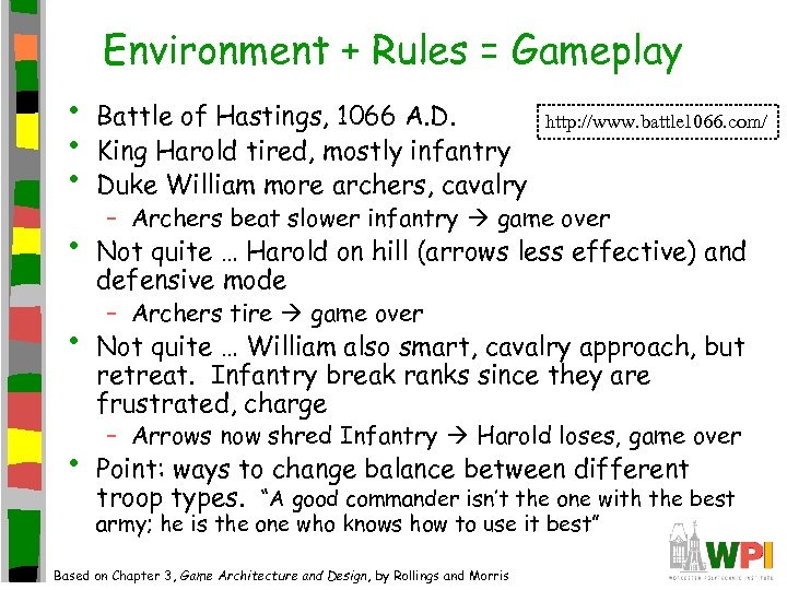 Environment + Rules = Gameplay • • • Battle of Hastings, 1066 A. D.