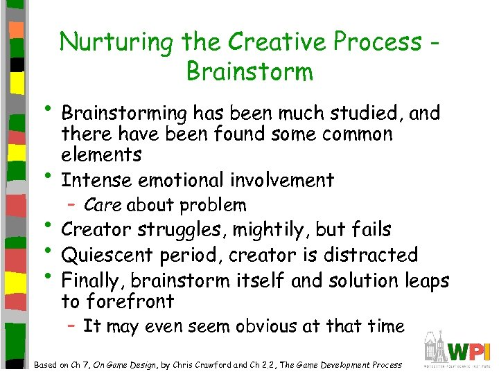 Nurturing the Creative Process Brainstorm • Brainstorming has been much studied, and • there